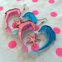 Dolphin Heart Acrylic Earrings