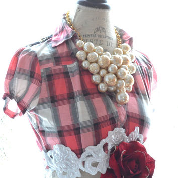 Crop top, Lace embellished winter plaid shirt, Shabby clothing, Street chic crop top, Boho clothing, True rebel clothing