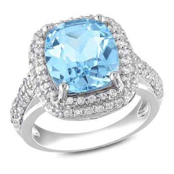 Cushion-Cut Blue Topaz and Lab-Created White Sapphire Frame Ring in Sterling Silver