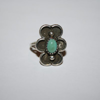 Turquoise and Sterling Vintage Ring Band Size 4.75- free ship US