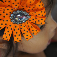 Orange and Black Ribbon Flower Halloween Headband, Infant Headband, Newborn Headband, Flower Headband