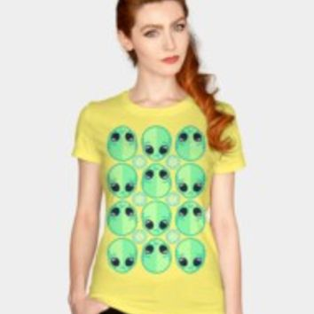 Sad Alien And Daisy Nineties Grunge Pattern T Shirt By Chobopop Design By Humans