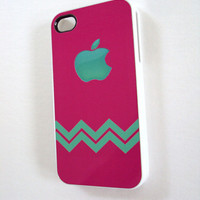 Pretty iPhone 4 & 4S Cell Phone Case Mint and Pink Chevron Sassy Cases