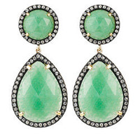 Majolie Diamond-Detailed Green Aventurine Teardrop Earrings - Max and Chloe
