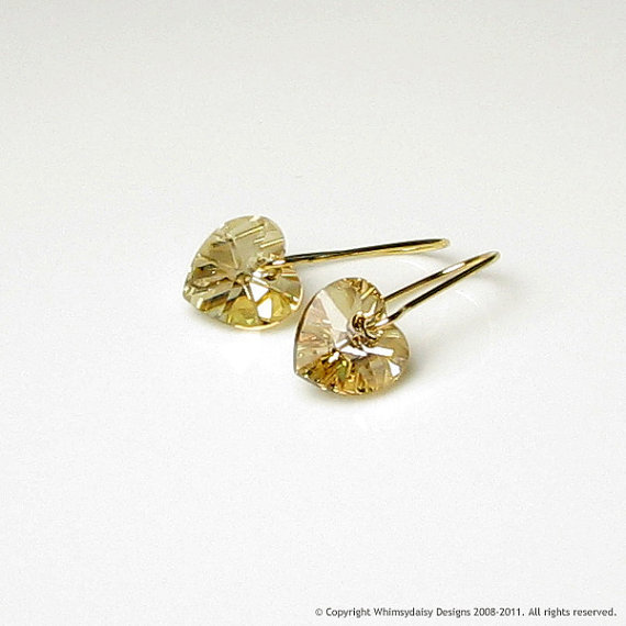 Golden Shadow Crystal Heart Earrings by whimsydaisydesigns on Etsy