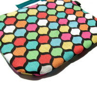 Multicolor Geometric Pattern ID Case- zippered pouch keychain or wristlet