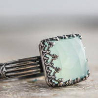Cocktail Ring with Aqua Chalcedony and Sterling Silver