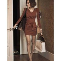 Women Coffee Blends Long Sleeve V-neck Slim Fitting Drape Short Dress M/L@HX1483c