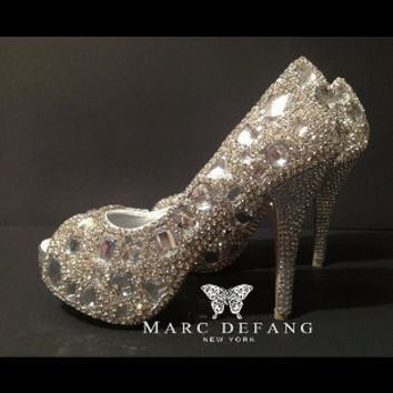 CLEAR Snow diamond with Clear crystal heels bridal Platforms