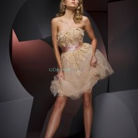 Short Strapless Sash Lace Tulle Satin Homecoming Dress [#UD2641] - Udreamybridal.com
