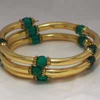 Crystal and tubes bracelet, Emerald green