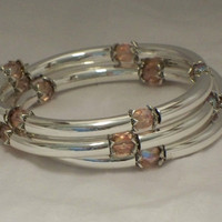 Crystal and tubes bracelet, Light rose