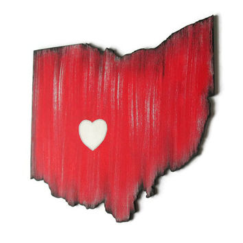 Any State Cut Out wooden wall decor hand painted in red, black, gray and white, city star or city…