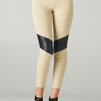Taupe Leggings with Pleather Patch Detail