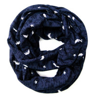 Flying Skull Scarf Teen Fashion Scarf Trendy Fashion Scarf Hipster Scarf Navy Blue White Cute Teen Holiday Gift Ready to Ship