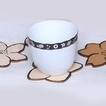 Set of Four Flower Coasters Wooden Coasters Decorated by