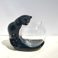 Vintage Haeger Mod Ceramic Black Cat with Glass Fish Bowl