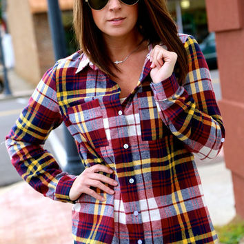 Mustard Accents Plaid Button-Up