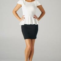 Off White Cap Sleeve Peplum Top with Zipper Back