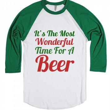 It's The Most Wonderful Time For A Beer-Unisex White/Red T-Shirt