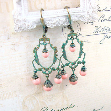 Verdigris Shabby Chic Earrings - Neo Victorian Chandelier Earrings - Teal and Peach Pearl Earrings Patina Earrings Verdigris Patina Jewelry