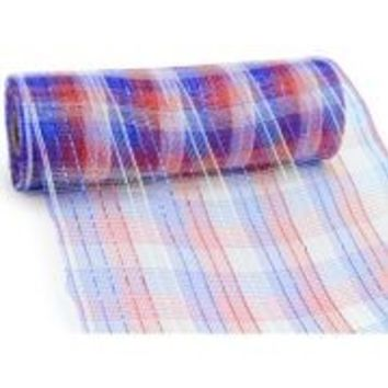 10in Wide x 30ft Metallic Red/ White/ Blue Check Mesh Ribbon