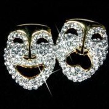 2in Wide x 1 1/2in Tall Gold Metal Rhinestone Comedy/ Tragedy Faces Brooch/ Pin