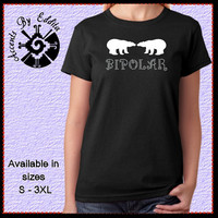 Cute BIPOLAR T Shirt or Tank in sizes S - 3XL with Polar Bears and Rhinestone Lettering