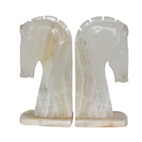 White Onyx Horse Bookends by THEAESTATE on Etsy
