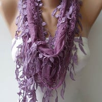 Lilac Lace Scarf with Lilac Lace Trim Edge