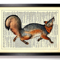 Grey Fox On The Hunt Book Art Upcycled Vintage Book Page Antique Dictionary Buy 2 Get 1 FREE