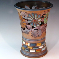 Beautiful Trumpet Vase With Flowers And Swirl Design
