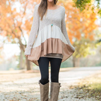 Sheer Tiers Top, Taupe/Ivory