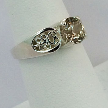 Multi-Faceted Honey Zircon Ring in Sterling Silver -- Product R011