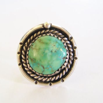 Round Turquoise Ring Vintage Sterling Navajo Size 6