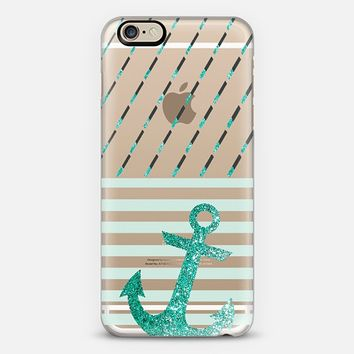 GLITTER ARTDECO MINT ANCHOR - CRYSTAL CLEAR PHONE CASE iPhone 6 case by Nika Martinez | Casetify