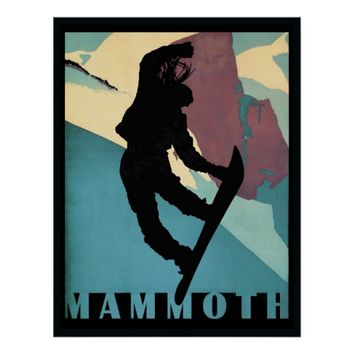 Mammoth Snowboarding girl winter sports poster