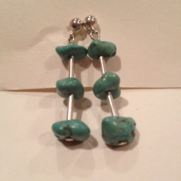ON SALE Navajo Turquoise Sterling Earrings Drop Dangling 925 Liquid Silver Vintage Tribal Southwestern Jewelry Blue Nuggets Christmas Xmas G