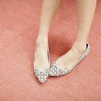 Angle hollow pointed flat shoes butterfly knot