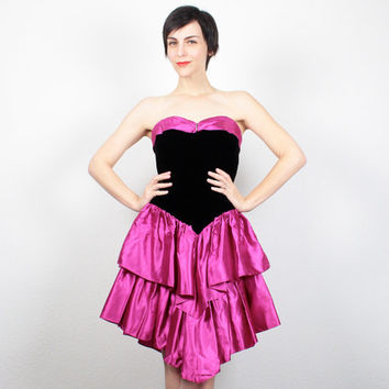 Vintage 1980s Prom Dress 80s Prom Dress Mini Dress Black Velvet Dress Strapless Bustier Hot Pink Ruffle Tiered Skirt Party Dress S Small M
