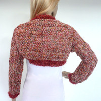 Hand knitted Shrug Bolero Unique Multicolor Pink Cream Coral  Italian wool blend Knit Womens Fashion