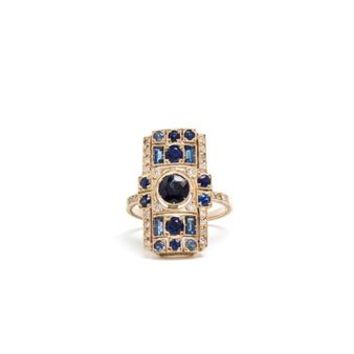 SABINE G   18k White Gold Diamond and Sapphire Rectangle Ring   Browns fashion & designer clothes & clothing