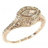14k White Gold Vintage Style Filigree Marquise Shaped Cubic... - Polyvore
