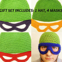 Gift Set. Teenage Mutant Ninja Turtles inspired Crochet 5 Piece set
