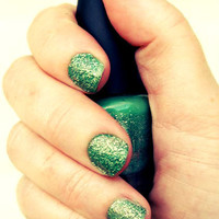 Green and Gold Glitter Nail Polish - &quot;Mermaid&quot; - Only One Coat Needed, Long Wear