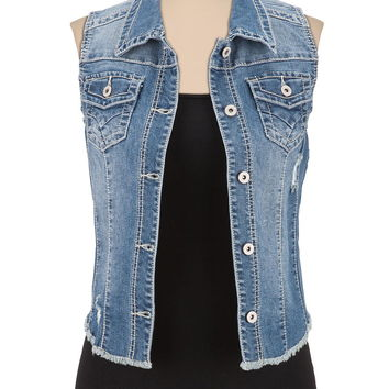 Fray hem medium wash denim vest