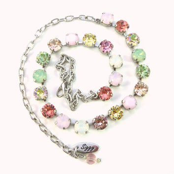 "Swarovski crystal necklace, ""Fantasy in Pastels"", 8mm soft pastels, multi-colored designer inspired necklace"
