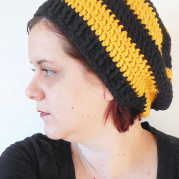 Yellow and Black Striped Crochet Slouch Hat, ready to ship.