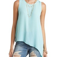 Asymmetrical Tank with Exposed Zipper by Charlotte Russe - Pale Mint