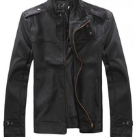 Men Fashion Zipper Long Sleeve Black Leather Fur Coat M/L/XL/XXL@S8X04-2b $31.99 only in eFexcity.com.